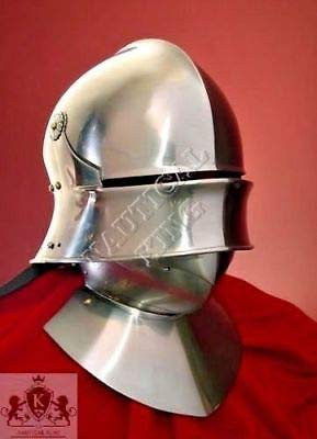 QUALITYMUSICSHOP Medieval Knight German Sallet Helmet European Close Helm Collectible SCA 18 gaug