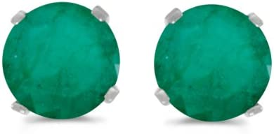 3mm natural Emerald round stones set in 14K Gold Filled Emerald earring studs 4mm