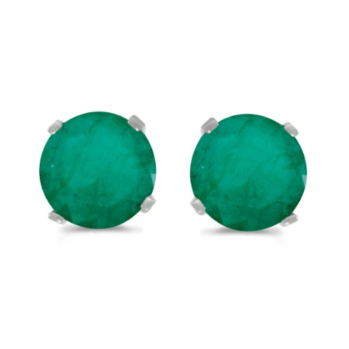 14k-White-Gold-Round-Emerald-Stud-Earrings