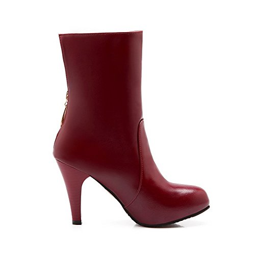 AgooLar Women's Pu Solid Zipper Round Closed Toe High Heels Boots Red 3yjqDC