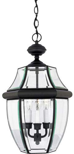Light Three Pendant Elegance - Quoizel NY1179K Newbury Outdoor Pendant Lantern Ceiling Lighting, 3-Light, 180 Watts, Mystic Black (21