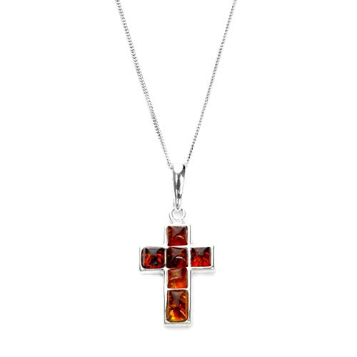 Sterling Silver & Baltic Amber Cross Pendant on Chain / Necklace - Chain 22