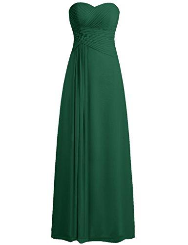 Robes De Bal Robe De Demoiselle D'honneur Jaeden Robe De Soirée En Mousseline De Soie Sans Bretelles Chérie Longue Plisser Vert Foncé