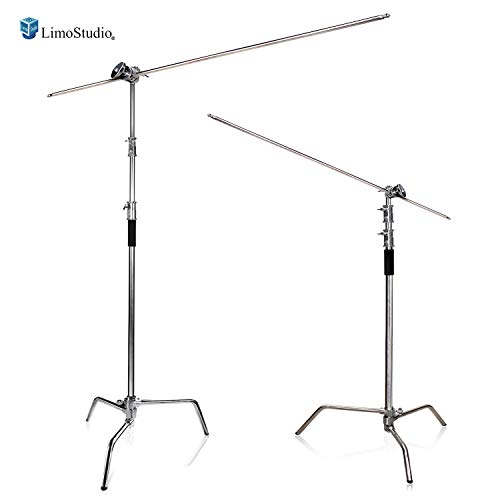 (LimoStudio Heavy Duty Stainless Steel C-Stand Kit with 10 ft. Max Height, Turtle Base, 4 ft. Stainless Steel Boom Arm Bar, and Chrome Grip Head Adapter Boom Stand for Photo Video Studio, AGG2712)