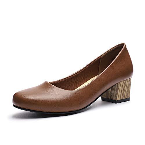 GUCHENG Chunky Heels Pumps Low Shoes Women's - Dress Ladies Heel Comfortable - Formal Width Black Brown White Wedding Shoes (9 M US, Brown