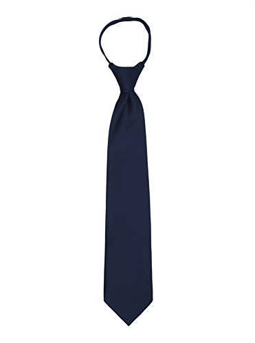 Jacob Alexander Boy's 14'' Pretied Ready Made Solid Color Zipper Tie - Navy by Jacob Alexander