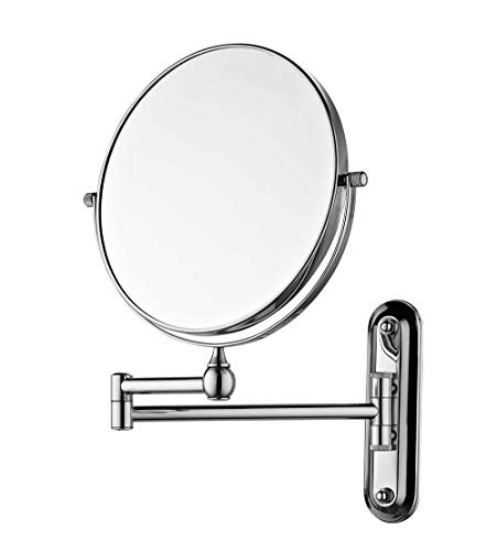 (Sanliv 8 Inch Two Sided Swivel Makeup Mirror Wall Mounted Cosmetic Shaving Mirror with 7x Magnification in Polished Chrome)