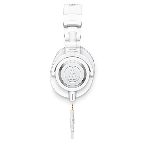 Audio-Technica ATH-M50x Professional Monitor Headphones (White) + Tekline Active Replacement Cable + Headphone Case by K&M (Image #2)