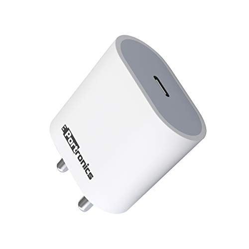 Portronics Adapto 20 Type C 20W Fast PD/Type C Adapter Charger with Fast Charging for iPhone 12/12 Pro/12 Mini/12 Pro Max/11/XS/XR/X/8/Plus, iPad Pro/Air/Mini, Galaxy 10/9/8 (Adapter Only) White