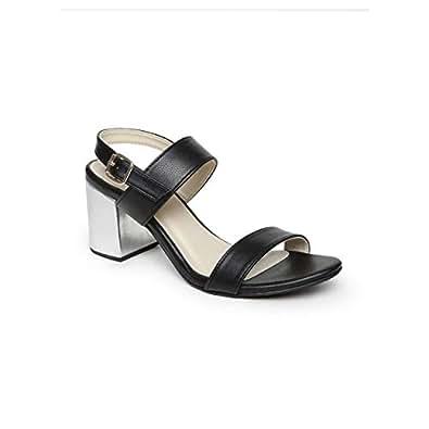 Monrow Black Heels Sandals For Women, 38 EU