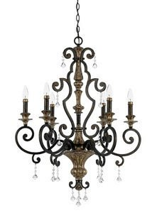 Quoizel MQ5006HL Marquette Spanish Crystal Chandelier, 6-Light, 360 Watts, Heirloom (38