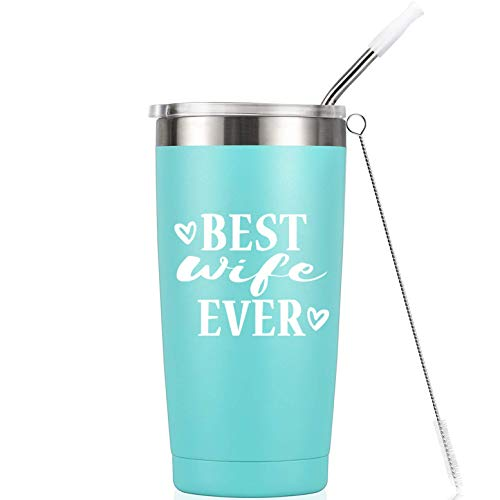 Best Wife Ever I Birthday Mug Tumbler I Vacuum-Insulated Stainless Steel Mug Tumbler with Lid, Birthday Gift for Wife Her Women, 20-Ounce Mint