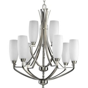 (Progress Lighting P4439-09 9-Light Two-Tier Westin Chandelier, Brushed Nickel)