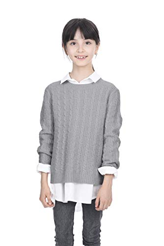 State Cashmere Kids Cable Crew Neck Long Sleeve Wool Cashmere Sweater Heather Grey ()