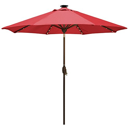 Solar Powered Patio Umbrella with 64 LED Lights Market Outdoor Umbrella with Tilt&Crank&Umbrella Cover, 9 Feet, Red