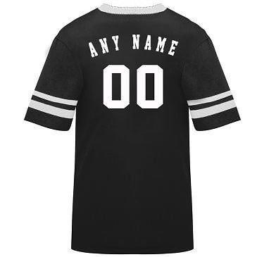 カスタマイズ名前/ Number On Back )ポリ/コットンアスレチックスポーツストライプスリーブジャージー/シャツサッカー、フットボール、カジュアル、学校。。。。21色、子供/大人サイズ8。 B00FL4OYTS Large|Black/White Sleeves Black/White Sleeves Large