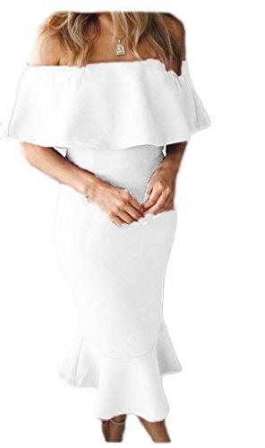 Dalla Spalla Midi Bodycon Bianco Colore Solido Volant Jaycargogo Sexy Abiti Donne Delle qBWEpxnn