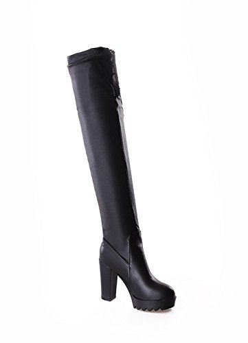 the Blend Boots heels High AmoonyFashion Materials Above Round Black Toe knee Women's Closed zwqAqYP