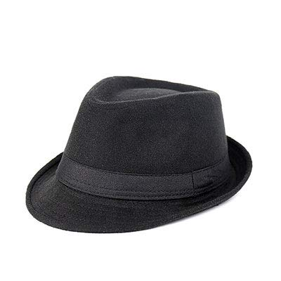 Wide Brim Men Fedora Hats Jazz Caps Flat Top Hat Casquette Brief Style Hat Black