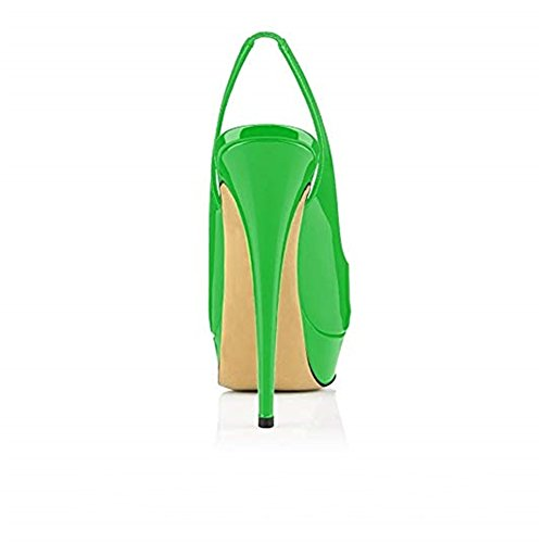 Alti Peep Pumps Verde Glitzer Sandals Stiletto ACEDICHY Slingback Toe Party Damen Tacchi cgqwSfBS