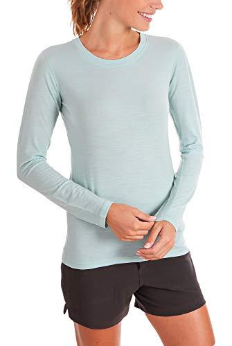 Woolly Clothing Co. Women's Merino Wool Flex Long Sleeve Crew Neck Shirt - Ultralight - Wicking Breathable Anti-Odor M SFM