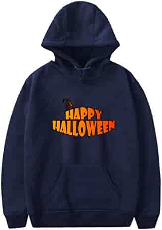 Men Sweatshirts Halloween Letter Printed Long Sleeve Hoodies Casual Plus Size Pullover Tops with Pockets
