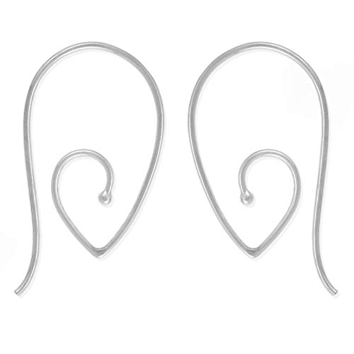 Boma Jewelry Sterling Silver Teardrop Pointed Spiral Pull Through Wire Hoop Earrings