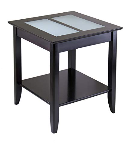 - Wood & Style Premium Décor End Table with Frosted Glass