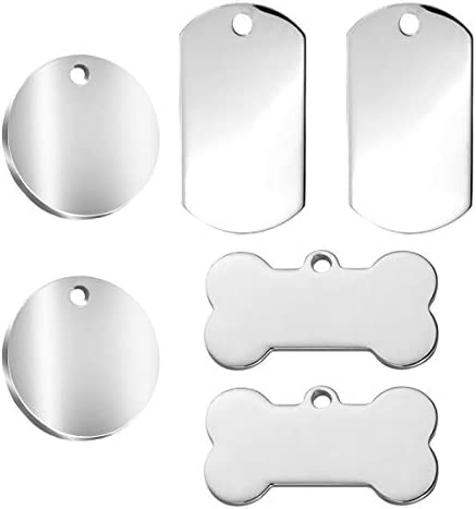 NA Dog Tags Pet 3 Specification ID Tags Stainless Steel No Lettering Tag for Stainless Steel Personalised Pet Identity Name Tags, 6PCS
