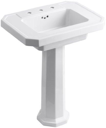 "KOHLER K-2322-8-0 Kathryn Pedestal Bathroom Sink with 8"" Centers, White"