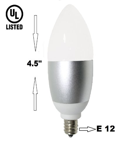 6 Watt, LED Candelabra E12 Base Light Bulb (60w Incandescent Replacement), Omni directional, 550 Lumens, Warm White 3000k, Chandelier Torpedo Shape, Frosted Glass Cover, Silver Base -UL