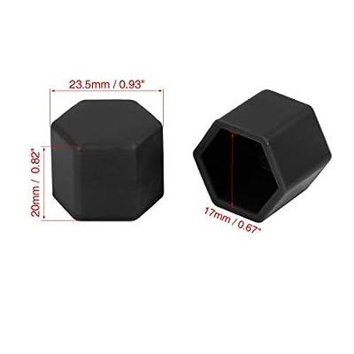 X AUTOHAUX 20pcs 17mm Universal Black Silicone Car Wheel Nut Lug Hub Screw Rim Bolt Covers Dust Protection Tyres Screw Caps: Automotive