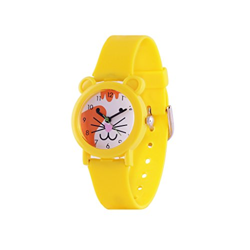Wolfteeth Analog Girl Kids Toddler School Day Wrist Watch with Second Hand Cute Small Face White Dial Water Resistant Little Girls Watch Yellow 306404
