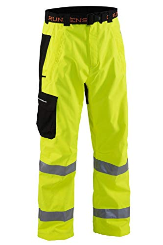 Grunden's Men's Gage Weather Watch Ansi Certified Waist Pant, Hi Vis Yellow, Medium