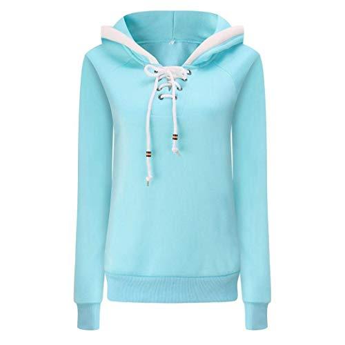 Donna Invernali Colori Slim Hoodys Casual Felpe Solidi V Cappuccio Pullover Blau Autunno Manica Hipster Con Lacci Felpa Eleganti Chic Lunga Ragazza Sweatshirts Neck Fit 4Ewqxd4