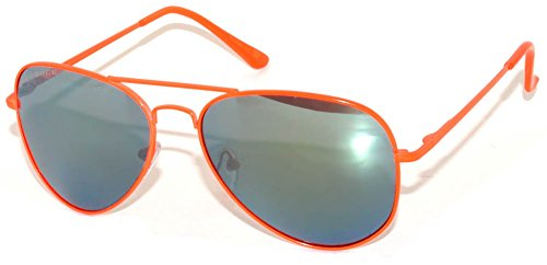 Spring Hinge Classic Aviator Sunglasses Neon Orange Metal