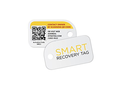Dynotag Web/GPS enabled QR Smart Mini Fashion Tags - 3 Identical Tags for Gear (Original White) - Original Tags