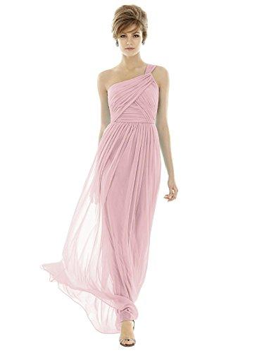 UPC 888293763334, Dessy Women's Full Length One Shoulder Chiffon Knit Dress - BLOSSOM - Size 14