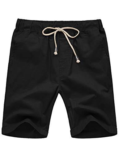 COOFANDY Men's Cotton Linen Casual Lightweight Elastic Waist Drawstring Shorts