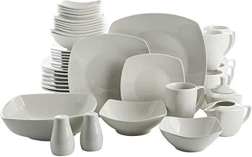 Gibson Home Zen Buffet Dinnerware Set, Service for 6 (39pcs), White (Square)