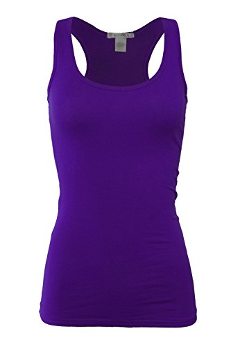 Bozzolo RT1777 Basic Cotton Spandex Racerback Tank Top Dark Purple (Lycra Racerback Tank Top)