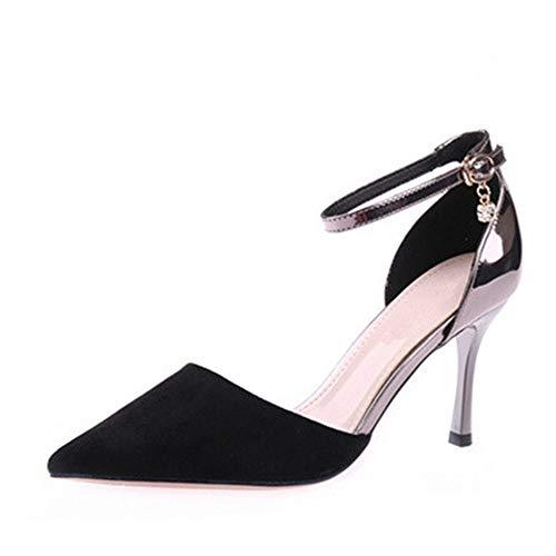 YMFIE Zapatos de Trabajo Negro Primavera y otoño de Color Gamuza a Juego Que Coinciden con Tacones de Aguja Tacones Huecos de la Manera Zapatos Solos Zapatos de Banquete A