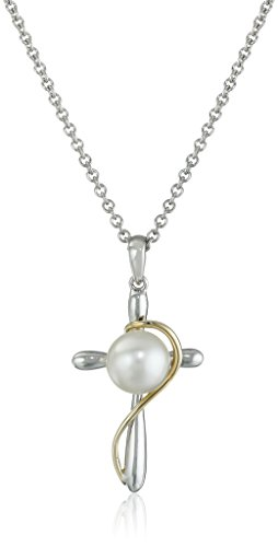 14k Yellow Gold and Sterling Silver 7-8mm White Button Freshwater Cultured Pearl Cross Pendant Necklace, 18