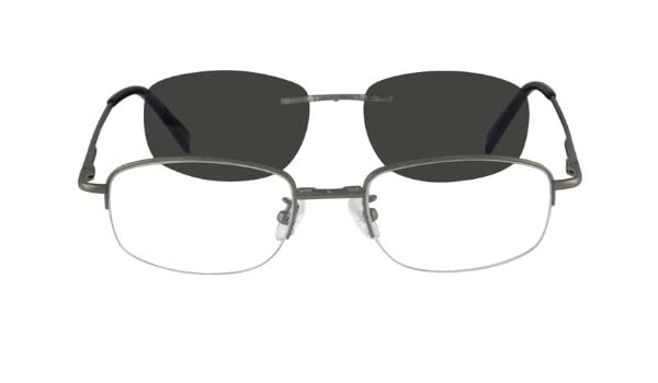 f4697563ae Amazon.com  583212 Metal Alloy Spring Hinge Half Rim Frame with Polarized  Magnetic Snap-on Sunlens  Health   Personal Care