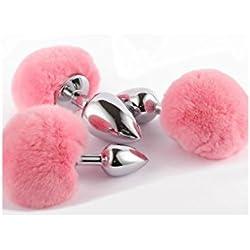 Plug A nale, Plug per fare amore piu' felice,Plug speciale Donna/Uomo Nuovo Fluffy Coniglio Tail adulti Roleplay giocattolo del metallo degli animali (S/M/L)
