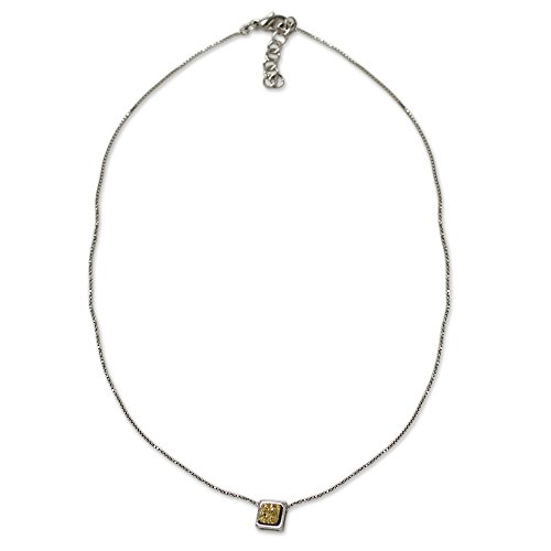 Necklace Plated Agate Rhodium (NOVICA Brazilian Drusy Agate Pendant Necklace with Rhodium Plated Box Chain, 16.5