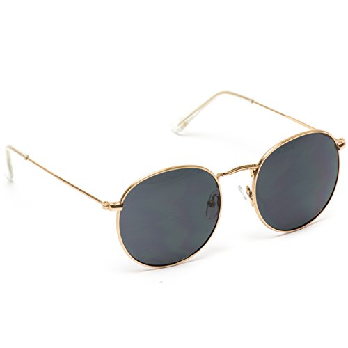 WearMe Pro - Reflective Lens Round Trendy Sunglasses (Gold Frame/Black Lens, 51) by WearMe Pro (Image #3)
