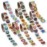Fun Express Paper Super Rolls of Stickers Assortment, 1000 Stickers
