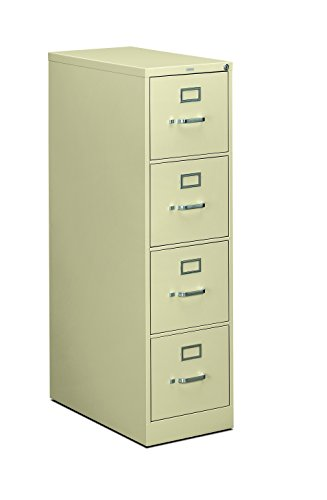 - HON 4-Drawer Filing Cabinet - 310 Series Full-Suspension Letter File Cabinet, 26-1/2-Inch Drawers, Putty (H314)
