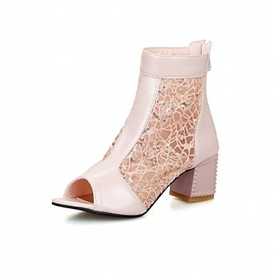 Las mujeres sandalias de verano otoño LUZ DE CONFORT Soles polipiel PU Oficina Exterior &Carrera visten casual parte &tarde Chunky TALÓN TALÓN DE BLOQUE Blushing Pink
